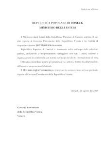 2015.08.25 - DONECK - MINISTERO ESTERI - NOTA DIPLOMATICA A GVP - TRADUZIONE UFFICIOSA
