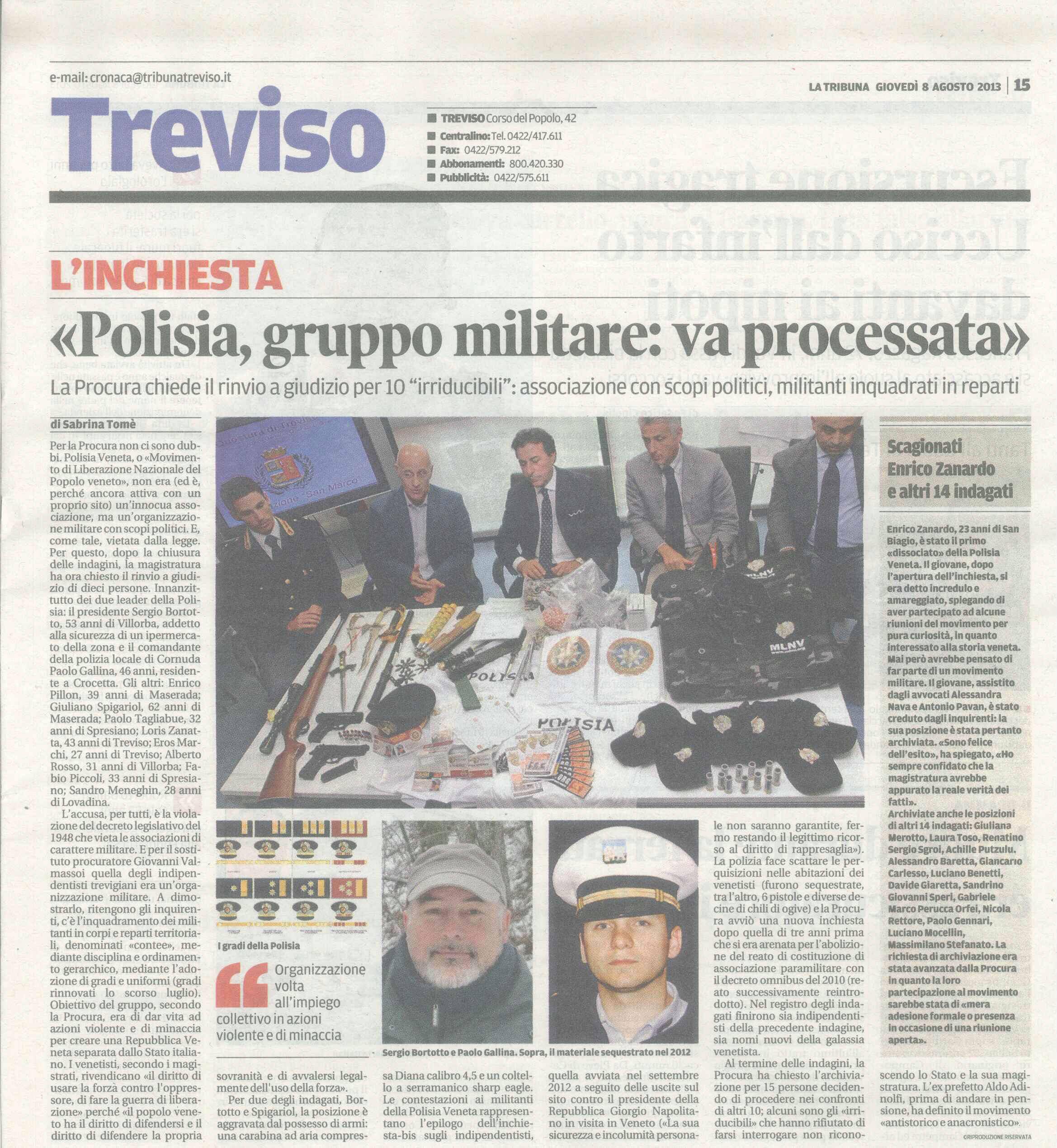 2013.07.08 - LA TRIBUNA DI TREVISO - ARTICOLO SU LA POLISIA VENETA E CONTRO IL MLNV